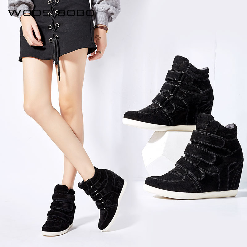 Women black red Genuine Leather Ankle Boots Female wedges increased Platform short boots Hook Loop Sneakers Casual botas mujer стоимость