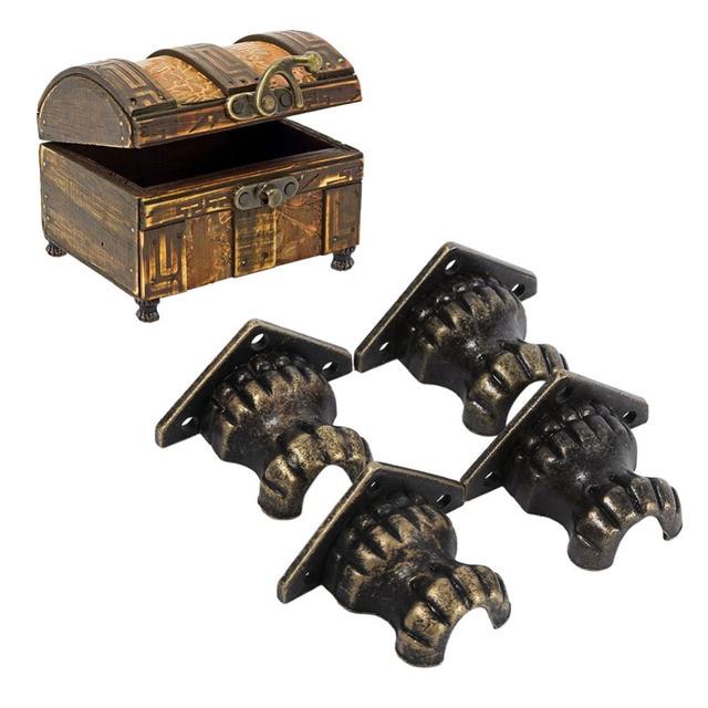 4pcs Antique Brass Zinc Alloy Retro Jewelry Chest Wood Box Decorative Feet Leg Corner Protector Hardware