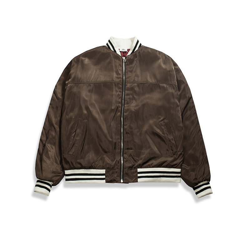 Double Knit Striped Satin <font><b>Bomber</b></font> <font><b>Jacket</b></font> New Arrivals Drop Shoulder Quilted Coats Free Shipping