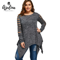 AZULINA Plus Size 5XL 4XL T Shirt Women Long Sleeves 2017 Autumn Winter Marled Ripped Sleeve