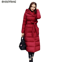 2018 High Quality Winter Jacket Women Long Big Size coat Fashion Women's Winter clothing Hooded Warm Down Cotton Parka with belt