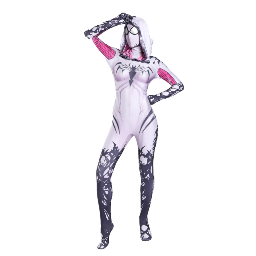 FOGIMOYA Spider Gwen Stacy Costume Venom Spiderman Cosplay Costume Girl Women Spider man Halloween Lycra Zentai Suit Superhero
