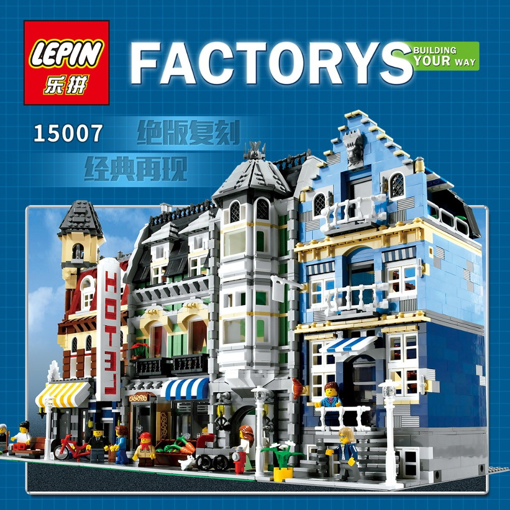 DHL Lepin 15007 Factory City Street European Market Model Building Block Set Bricks Kits DIY Compatible 10190 my apartment