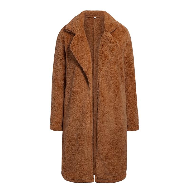 Conmoto Women Winter Suede Jacket 19 Fashion Teddy Bear Caramel Long Coat Female Long Sleeve Faux Fur Coat Fluffy Outerwear 9