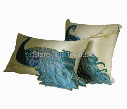 luxury Handmade sequins peacock cushion Faux Silk Decorative Embroidery cushion cover pillow cover Home Decor Sofa Cushions