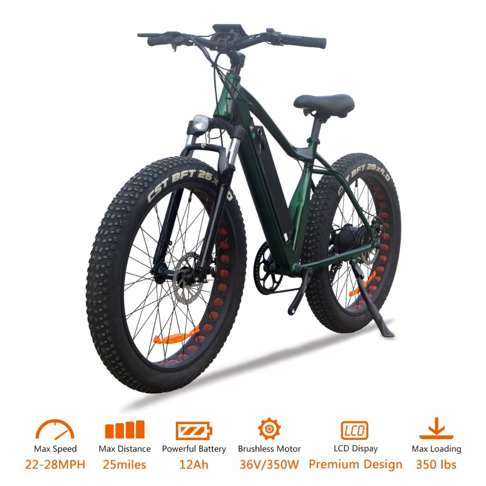 "VTUVIA 26 * 4.0"" Fat tire Mountain Electric bicycle 36V Li-ion battery 350W Brushless Motor E Bike 50km Long Distance Ebike"