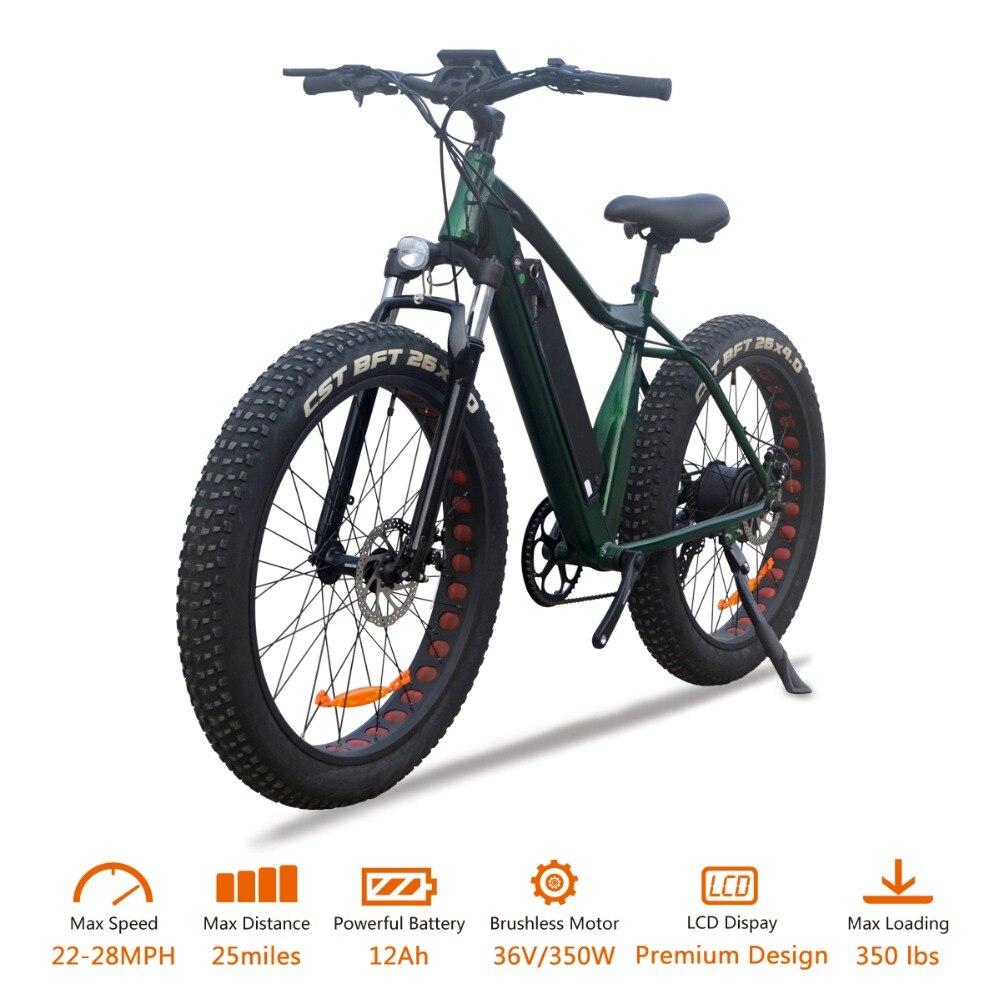 VTUVIA 26*4.0 ''gros pneu montagne vélo électrique 36 V Li-ion batterie 350 W moteur Brushless E vélo 50 km longue Distance Ebike