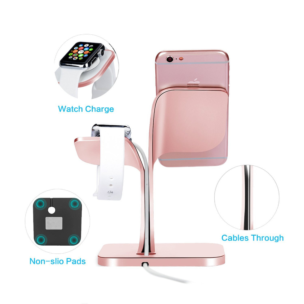 Apple Watch Stand Solid Aluminum Charging Holder for iPhone X/8/8 Plus/7/7 Plus and Apple Watch Series 3/Series 2-Silver black joyroom 3 part finger holder hard cover for iphone 7 plus black