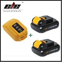Eleoption 12V 2000mah MAX Li ion 2x Replacement Batetry For DCB120 DCD710 DCF813 DCF815 + DCB090 USB Power Source Addon