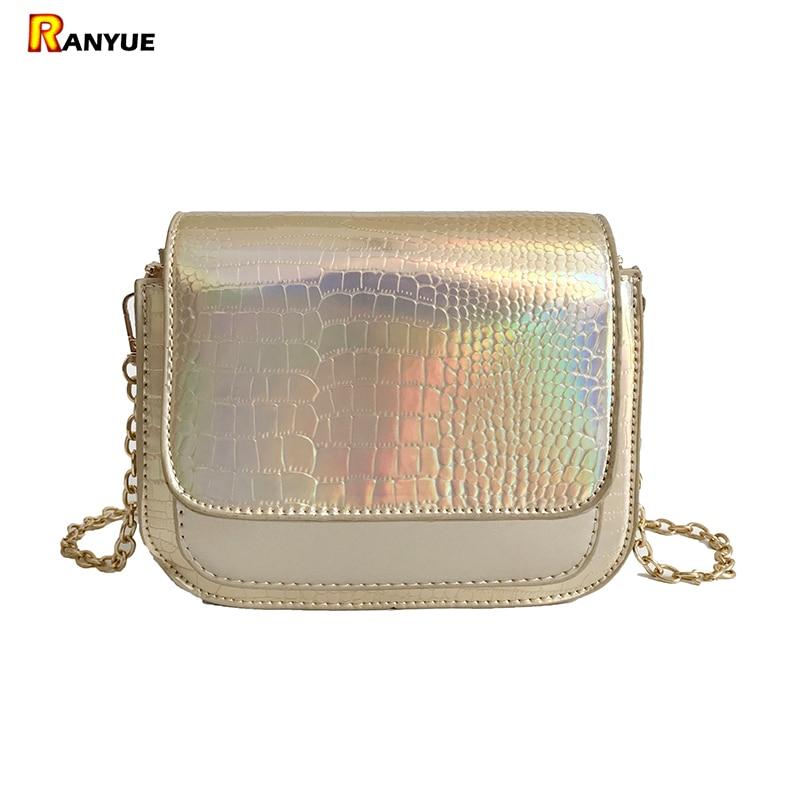Laser Crocodile Women Handbag Alligator Women Crossbody Bag Chain Women Messenger Bags Small Bolsa Feminina Couro Ombro Silver