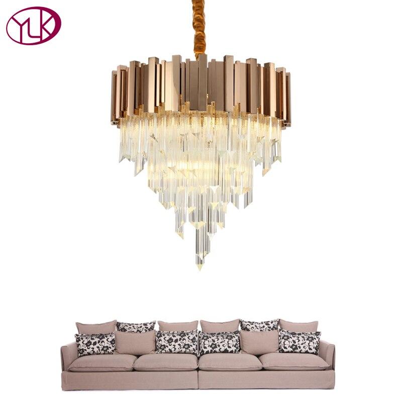 Youlaike Rose Gold Modern Chandelier Lighting Luxury LED Hanging Crystal Lamp Living Room Dining Room LED