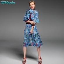 Autumn Runway Dresses 2017 Women Two Piece Set Fashion Print Crop Top Bow Blouse Shirt High