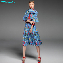 Autumn Runway Dresses 2017 Women Two Piece Set Fashion Print Crop Top Bow Blouse Shirt + High Waist Pleated Skirt Set Suit