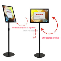 A4 Adjustable Chrome Floor Stand \Advertising Signage Holder Floor with Black Acrylic Frames