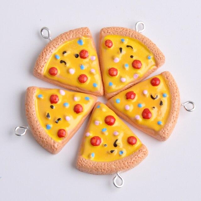 10pcs 24*25MM Cute DIY resin Pizza charms kawaii flatback cabochon resin simulated food craft jewelry making ornament decoration