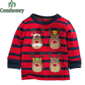 Boys T Shirt Christmas Shirt for Girls Long Sleeve Dinosaur T Shirts Cartoon Santa Claus Bebe Boy Clothes Xmas Gift Kids Clothes