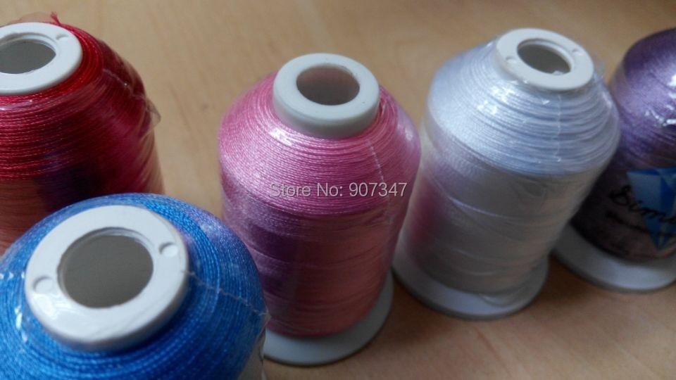 Populární 100% polyesterová vyšívací nit 1000m / kužel, 6 barev Brother / nastavitelná strojová vyšívací nit