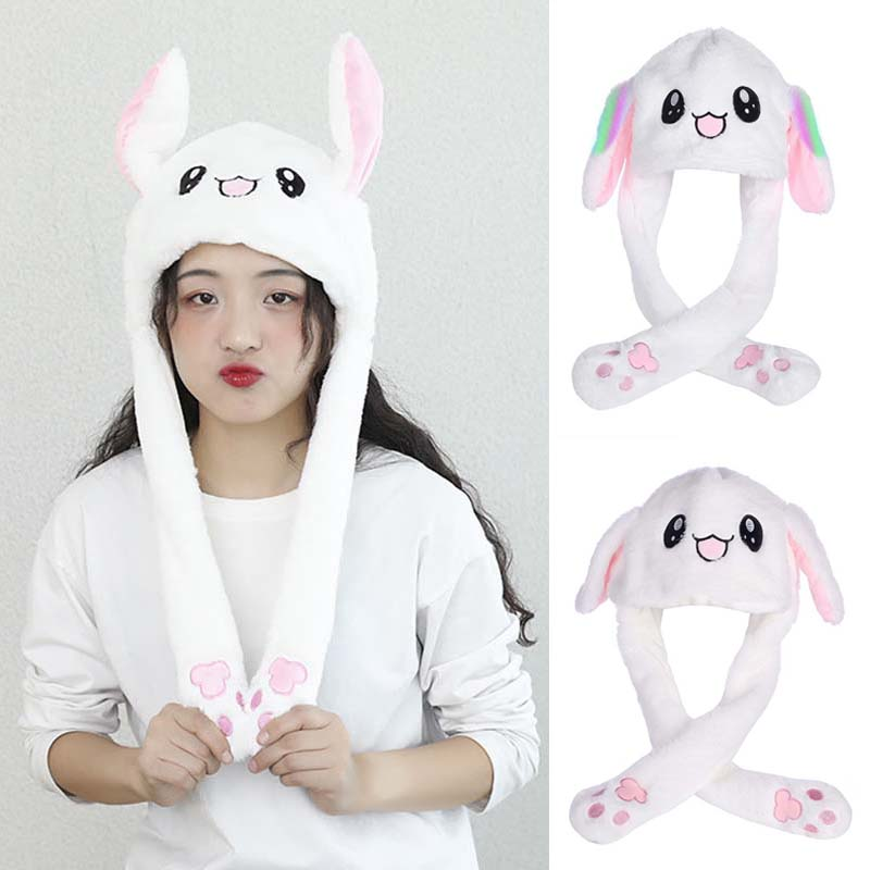 Apparel Accessories Adult Child Unisex Winter Warm Fluffy Plush Hat Cute Moving Airbag Magnet Rabbit Ears Hat Warmer Party Dance Toy Photo Props Wi Girl's Accessories
