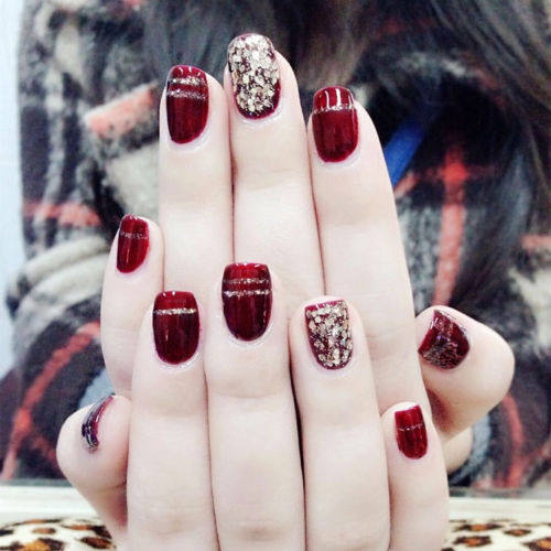 Online Shop Short Wine Red Nail Art Short False Nails With Golden