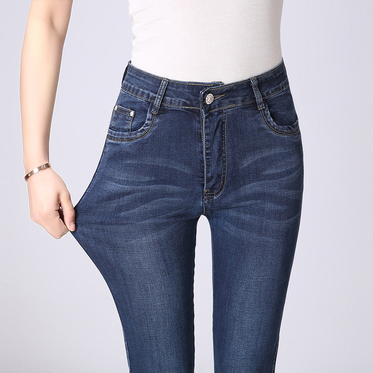 Women's Clothing Bottoms Active Plus Size Skinny Capris Jeans Woman High Waisted Jeans Female Summer Stretch Skinny Knee Length Denim Pants