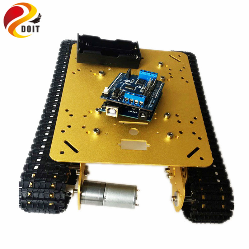 DOIT WiFi Shock Absorption Tank Chassis TS100 by Android/ios Phone From ESPDUINO Development Kit with 2-way Motor & 16-way Servo