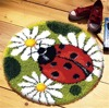 Latch Hook Kit Rug Cushion Pillow Mat DIY Craft Ladybug 50CM by 50CM Cross Stitch Needlework Crocheting Rug Embroidery ZD025