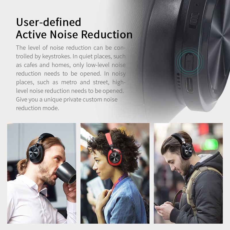 Bluedio T7 Bluetooth Headphones Active Noise Cancelling Wireless Headset for phones and music with face recognition User-define