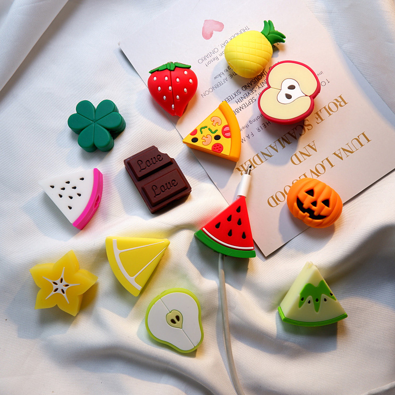 Cable Bite Cute Fruits Cable Protector For Iphone USB Cable Organizer Chompers Charger Wire Holder Pprotege Cable To Toys Funny