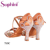 Crown Crystal Tan Salsa Shoes Woman Classic High Quality Comfortable Dance Shoes Manufacturer Chinese Suphini Latin Dance Shoe