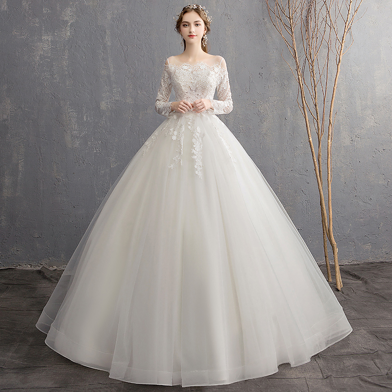 Lace Long Sleeve Wedding Dress 2019 New Bride Simple Super fairy Applique Ball Gown Bride Dresses
