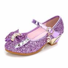 Детская обувь для девочек на высоком каблуке, сандалии принцессы, модная детская обувь, блестящая кожаная обувь с бабочкой вечерние, танцевальная обувь