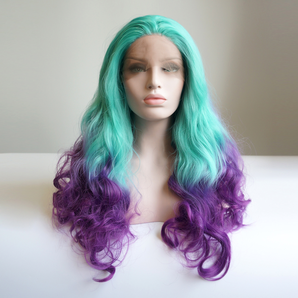 24 purple mixed green ombre long curly party lace front wig heat resistant wig cap h793328 in. Black Bedroom Furniture Sets. Home Design Ideas
