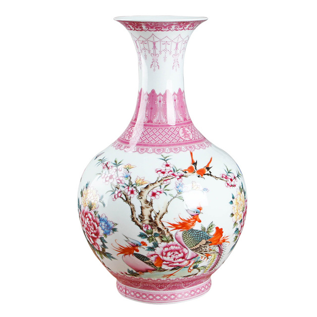 Chinese Style Antique Pink Ceramic Flower Vase Decorative Vases