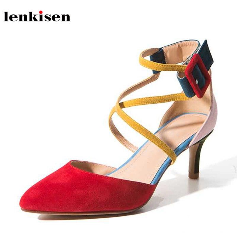 Haute red Chaussures Pompes Pointu L30 Talons Solide Kid Style D'été Élégant Lenkisen Sangle 9cm Croix De Mode 5 Poursuivi Bout 5cm Sexy Liée Boucle Femmes wqAUBYCx