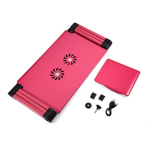 Image 5 - Aluminum Alloy Adjustable Foldable Laptop Desk Lap Desks Computer Table Stand Notebook With Cooling Fan Mouse Board For Bed Sofa