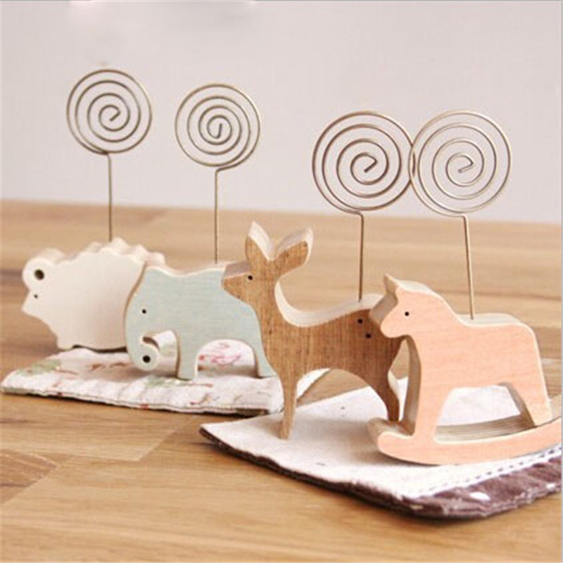 1pcs Animal Wooden Desktop Figurines Wrought Iron Message Note Clip To Clip Pictures Photo Holder Home Decor Arts Crafts Gift