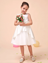Luxurious A line Satin ivory Flower Girl Dress with Applique flower kids girls formal party dresses