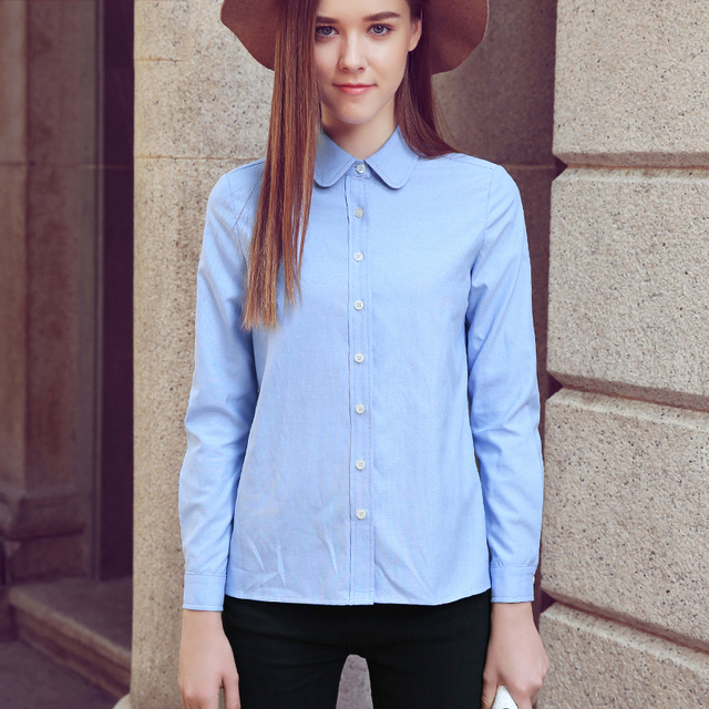 Alifestyle Women Shirts Blouses Female Classic Simple Oxford Cotton Long Sleeve Shirt Lady Casual Style High Quality White Shirt Women Shirts