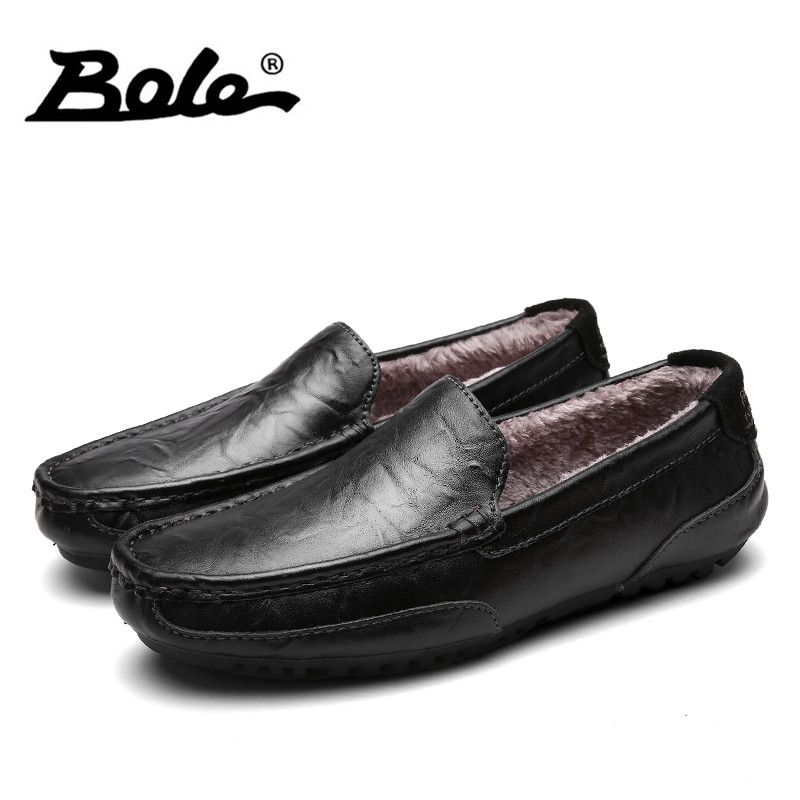 BOLE Winter Men Loafers Slip on Leather Men Casual Shoes Plus Fur Warm Driving Shoes Soft Moccasins Loafers Brand Men Flats digoo dg bb 2hc durable double head 30cm usb charging power cable for dg mx10 tws wireless waterproof speaker