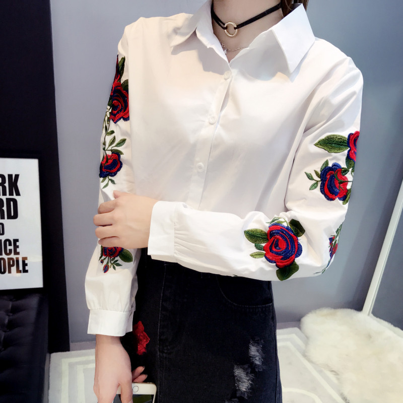 Ih Long Sleeve Rose Floral Embroidery White Stripe Blouse Women Casual Tops Kimono Office Lady Blusas 2019 Spring Plus Size 4XL