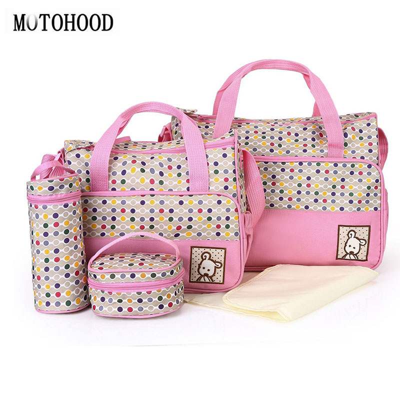 MOTOHOOD 5pcs Baby Diaper Bag Suits For Mom Changing Bags Organizer Maternity Nappy Sets  Dot Tote 40*30*14CM