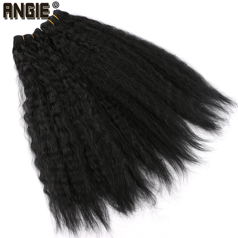 ▀Best DealSynthetic Weave Hair-Bundles Kinky Straight Women 3pieces/Pack Black for 16-20inch 210-Gram£
