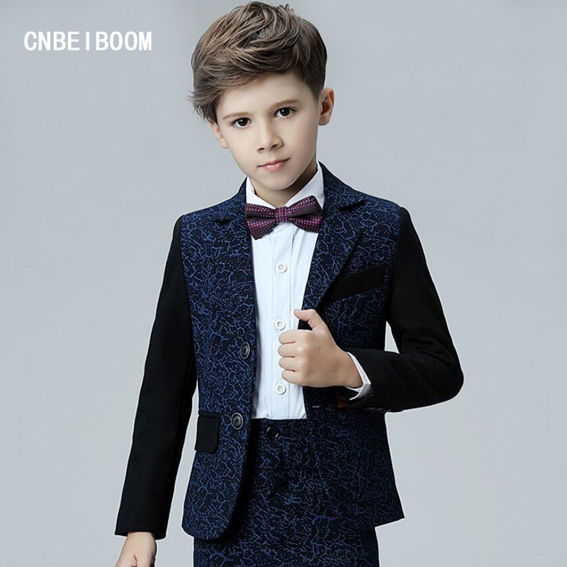 Boys Wedding Suits For Baby Children Blazer Jacket+Pants +shirt + Bow Sets Kids Tuxedo Prom Black Blue Stitching Party clothes student performance clothes children clothing sets boys blazers wedding sets pieces boys tuxedo suits