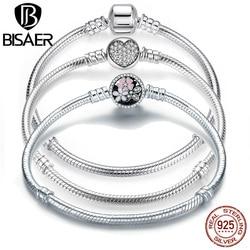 BISAER Genuine Bracelet Silver 925 Jewelry Snake Chain Bangle & Bracelet Silver 925 Original Jewelry Christmas Gift 2018 HJS902