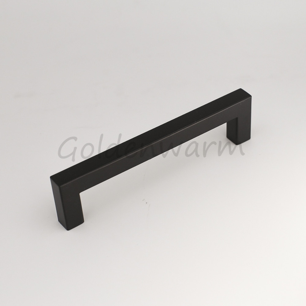 Black Cabinet Handles Stainless Steel Drawer Pulls Goldenwarm 96mm 3 ...