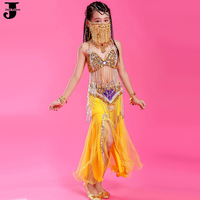 Girls Belly Dance Costume Set 6 Colors Kids Indian Dance Costumes Heavy Process Beaded Stage Wear