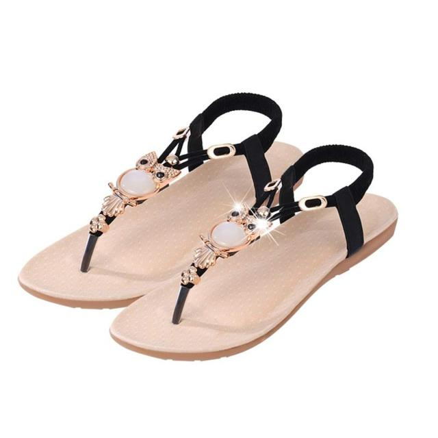 e801428a145e4 New Sandals Zapatos Mujer Women Rhinestone Owl Sweet Sandals Clip Toe  Sandals Beach Shoes Woman Chaussures Femme ete 2017-in Low Heels from Shoes  on ...