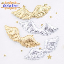 40Pcs Gold Silver Cloth Padded Angel Wing Appliques Single Side Glitter Fabric Patches DIY Crafts Hat Headwear Accessory