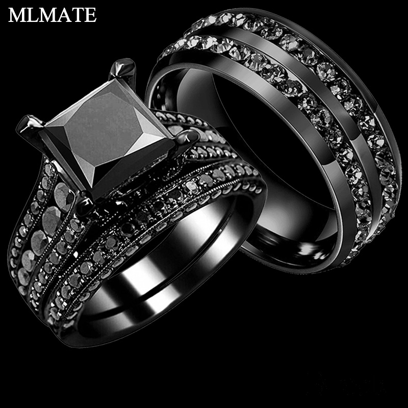 His Her Couple Rings Black 316L Stainless Steel Princess