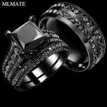 bfdee35088 His Her Couple Rings Black 316L Stainless Steel Princess Cut Cubic Zirconia  Engagement Wedding Ring Set